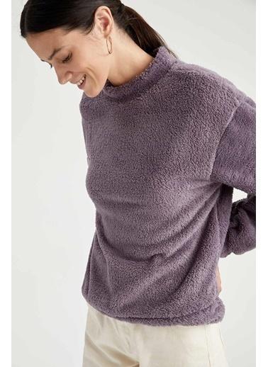 DeFacto Regular Fit Yarım Balıkçı Yaka Uzun Kollu Sweatshirt Mor
